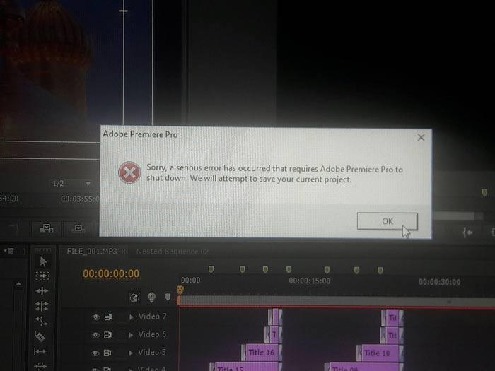 رفع خطای بسته شدن پریمیرپرو Premiere pro Shut Down